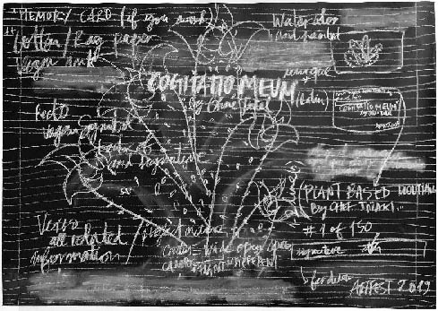 artwork by Ohne Titel. Cogitatio Meum from the series Ideam Schematic. Conceptual art. Draft of an idea. Blackboard with words