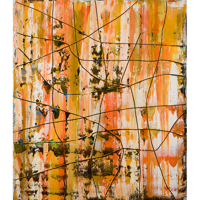 artwork by Ohne Titel. Everybody loves the sunshine from the series I dream in colours. Piece of abstract orange and ochre painting on canvas. Process involving layers of painting, dripping and incisions.