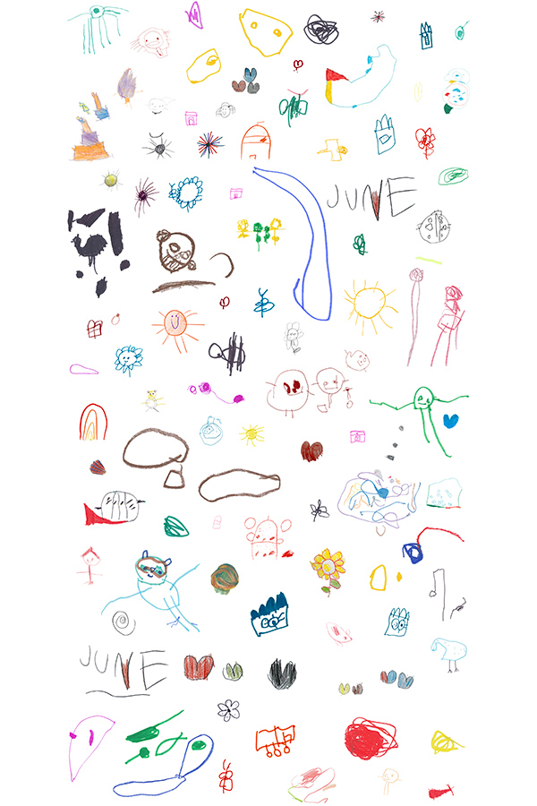artwork by Ohne Titel. June, is a design for a wallpaper that illustrates drawings from a three year old girl