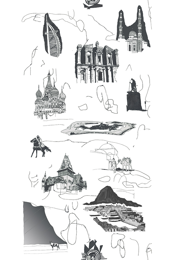 artwork by Ohne Titel. Nunca olvidaré lo que no recuerdo, is a black and white design for a wallpaper inspired by postcards of different places I hadn't yet been when created